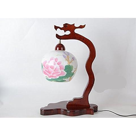 LLYY-Semplici creative e incantevole giardino decorazione ceramica lampada-camera da letto comodino in legno massello matrimonio moda scrivania lampada da tavolo stile cinese-LYA
