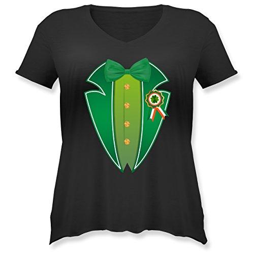 cks Day - Leprechaun Kobold Kostüm - S (44) - Schwarz - JHK603 - Weit geschnittenes Damen Shirt in großen Größen mit V-Ausschnitt (Irische Kostüme Für Frauen)