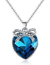 Lavishya Crystal Elements Limited Edition Delicate Love Heart Design Royal Blue Brilliant Platinum Plated Pendant...