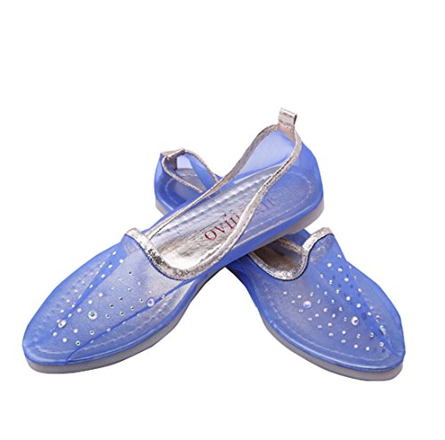 Gaorui Sommer transparent Damenschuhe Ballerinas Schuhe Ballet Tanzschuhe weich Sohle Blau Beige Blau