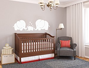 Adhesivo decorativo para pared con diseño de tres bonitos elefantes para padres...