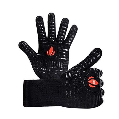 QIMANZI Heiß BBQ Grillen Handschuhe Kochen Extrem Hitze Beständig Ofen Schweißhandschuhe(Schwarz) (Heiße Schwarze Flapper Kostüm)