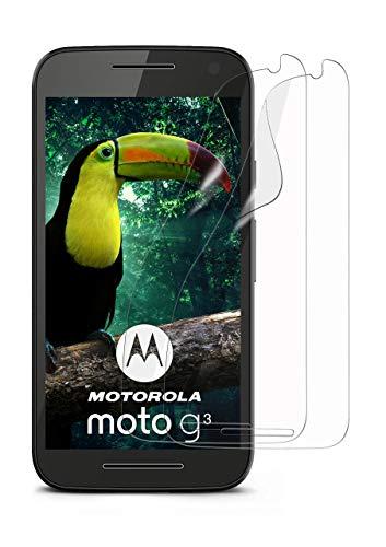 moex 2X Motorola Moto G3   Schutzfolie Klar Display Schutz [Crystal-Clear] Screen Protector Bildschirm Handy-Folie Dünn Displayschutz-Folie für Motorola Moto G 3. Generation Displayfolie