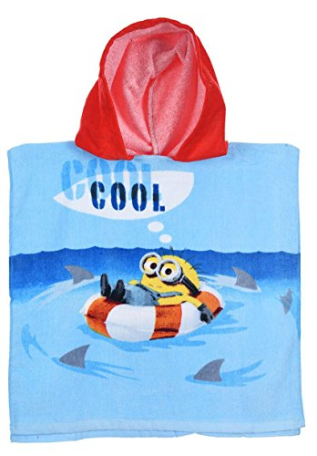 Cape de bain à capuche enfant garçon Les Minions Bleu Taille unique (3-8 ans)