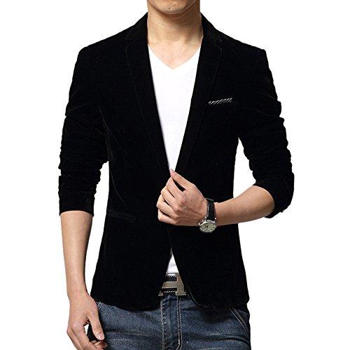 MRSMR Hommes Casual Duvet Épaissie Veston Costume Un Bouton Solide Couleur Blazer Manteau Vestes Noir