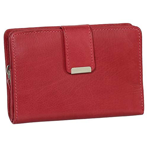 Damen Leder Geldbörse Damen Portemonnaie Damen Geldbeutel - Farbe rot - Geschenkset + exklusiven Ledershop24 Schlüsselanhänger