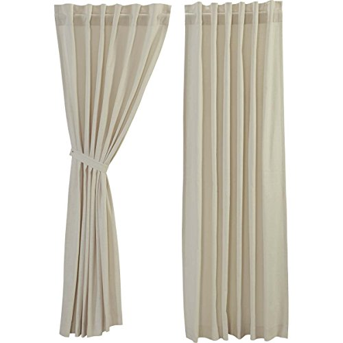 VHC Brands Farmhouse Window Regina White Curtain Panel Pair, 84x40, Creme -