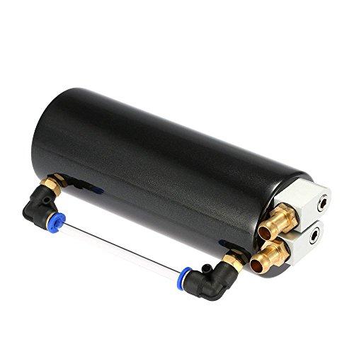 KKmoon Universale Racing Motore Serbatoio fermo dell'olio in Alluminio Auto Billet Round Turbo Serbatoio Può Kit, Nero