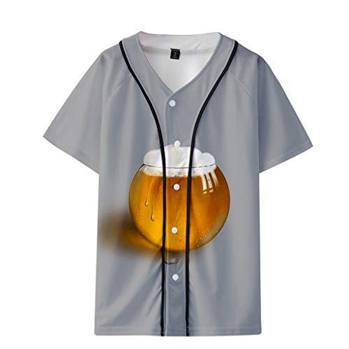 Herren Damen Baseball Bier Muster Gestreifte Print überdimensional Ausgebeult T-Shirt Top Baseball-T-Shirt Mesh Jersey personalisierte Baseball Shirt Deutsches Bierfest
