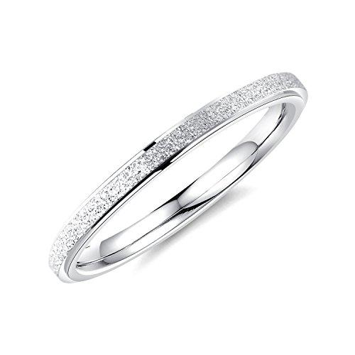 bigsoho Modeschmuck Damen Ring 2mm breit Edelstahl sandgestrahlt Ehering Verlobungsring Trauring Geschenk (Silber, 47 (15.0))
