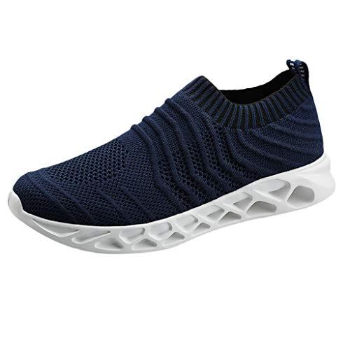AIni Herren Schuhe Beiläufiges Mode 2019 Neuer Heißer Summer Mesh Breathable Sneakers Leichte, Lässige Schlüpfen Laufschuhe Freizeitschuhe Partyschuhe (47,Blau)