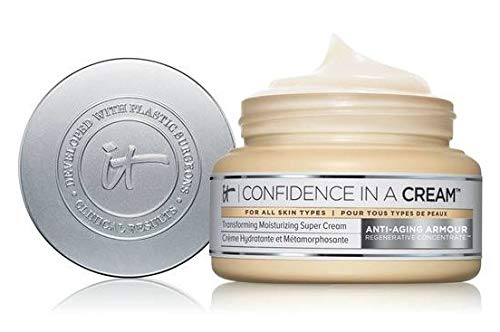 confidence in a cream - 2 oz - cap under lid;transforming moisturizing super cream - anti aging armour;clinical results - developed w/ plastic surgeons
