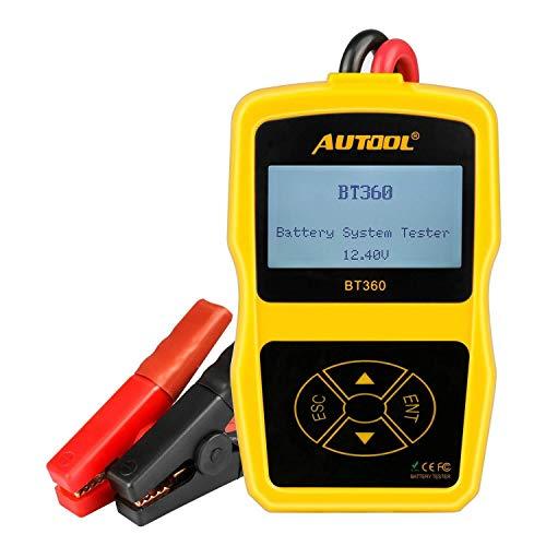 ZJN-JN Batterietester BT360 Automotive 100-1400 CCA Batterie laden Tester, 9V 15V Auto-Cranking und Ladesystemtest-Scan-Werkzeug elektrischer Measruing
