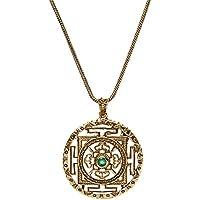 81stgeneration Collana Ottone Color Oro Mandala Cosmo con Pietra Preziosa Simulata, 46 cm