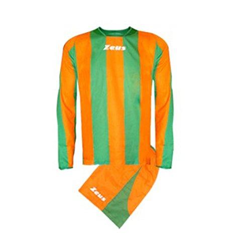 Zeus Herren Kinder Torwart Set Trikot Shirt Hosen Klein Armel Kit Fußball Hallenfußball KIT ZAGOR ORANGE GRUN (L)