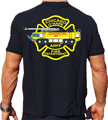 feuer1 T-Shirt Black, Chicago Fire Dept. O'Hare Int'l Airport (Mehrfarbig) 3XL