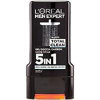L'Oréal Paris Men Expert Total Clean Gel Doccia Uomo, Carbone Azione Totale 5 In 1, 300 ml