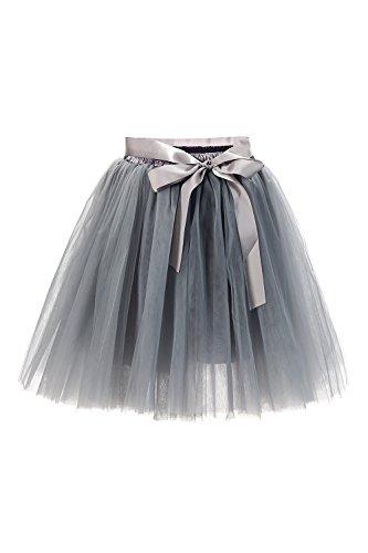 Babyonline® Damen Prinzessin Falten Rock Vintage Kleid Spitzen Rock Midirock Ballettrock Tüllrock Unterrock Knielang, Grau, One Size / ()