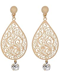 Golden Filigree Worked Pear Shaped Drop Earrings With Dangling Stones