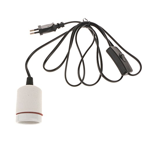 E27 Porzellan Lampenfassung Keramikfassung mit Kabel, Schalter und EU-Stecker