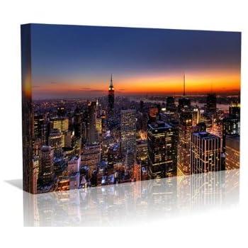 New York, au crépuscule Affiche encadrée Toile - Wall Art - Art contemporain - Galerie Encadrement enveloppé prêt à accrocher, 20 pouces x 30 pouces