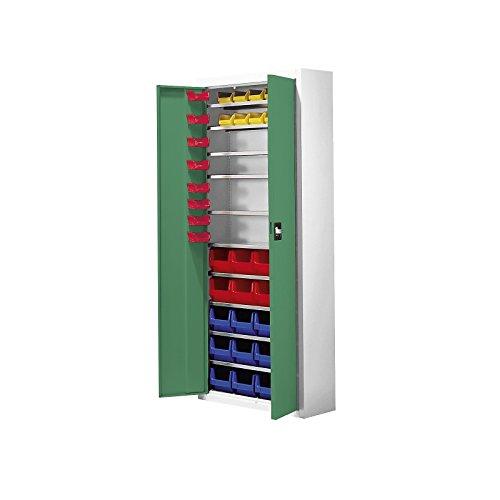 mauser Magazinschrank mit Sichtlagerkästen - HxBxT 1740 x 680 x 280 mm, zweifarbig, Türen grün -...