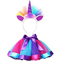 happy event Kawaii Little Girls Layered Rainbow Tutu Faldas con Unicornio Cinta Rosa Rosa S