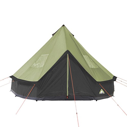 10T Mojave 400 Beechnut - Tipi Zelt mit XXL Wohn- & Schlafbereich, Campingzelt für 4-8 Personen, Indianer Outdoorzelt mit Bodenwanne, wasserdichtes Pyramidenzelt mit 5000mm, Familienzelt mit Transporttasche, Zeltheringen, Abspannleinen und Zeltgestänge - 3