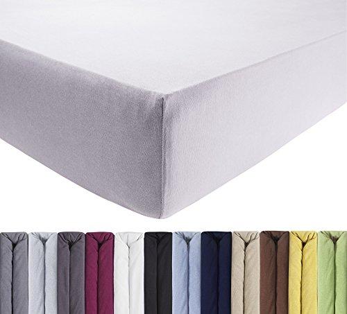ENTSPANNO Jersey-Luxus-Spannbettlaken 140 x 200 | 160 x 220 cm für Wasser- und Boxspringbett in Silber-Grau aus gekämmter Baumwolle. Spannbetttuch mit Einlaufschutz bis 40 cm hohe Matratzen