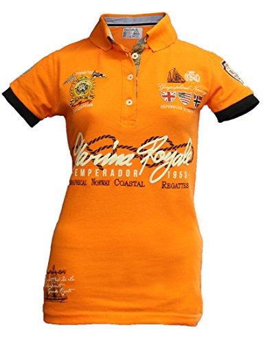 Geographical Norway Original Poloshirt für Damen - Modell: KIPAWA - Frauen - Stylisches Casual Kurzarm Polo Shirt für Freizeit - Sport - T-Shirt- Gr. XXL (Herstellergröße: 5), Orange - Polo-shirts Frauen