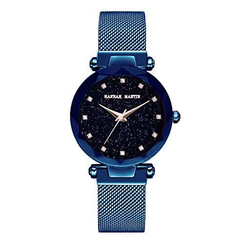 Damen Uhren, L'ananas Frauen Mode Sternenklarer Himmel Dial Diamant schneiden Freie Größe Maschengurte Armband Armbanduhr Women Watches Bracelet (Blau)