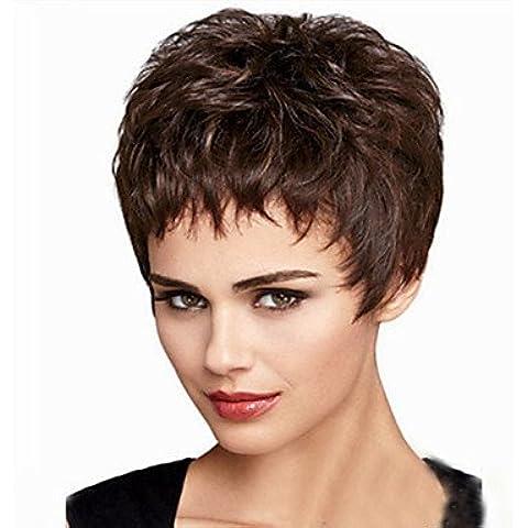 OOFAY JF ® la nuova Europa e in America deve ritardante capelli alta temperatura parrucca di filato di seta del volume breve birichino , brown