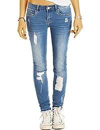 Bestyledberlin Damen Röhrenjeans, Used Look Skinny Fit Jeans, Sehr enge aufgerissene Jeans j46k