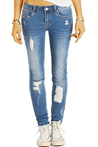 Bestyledberlin Damen Röhrenjeans, Used Look Skinny Fit Jeans, Sehr enge aufgerissene Jeans j46k 38/M