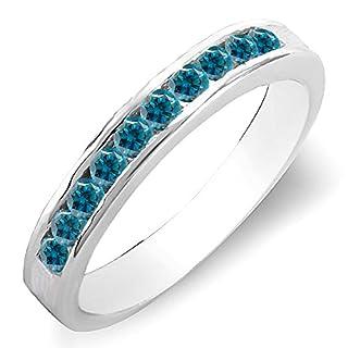 DazzlingRock Collection  -  10 K Weißgold Rundschliff blau Blauer Diamant