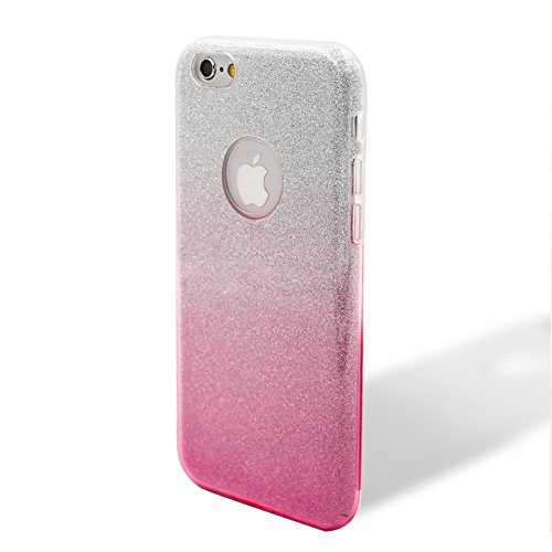 Custodia per iPhone 6/6S, Case Cover per iPhone 6/6S 4.7, [ Soft TPU + Glitter Paper + Hard PC ] 3 in 1 Hybrid Layers Protection Back Cover, Silm Thin (Verde) Skin Cases per Apple iPhone 6S 6 (4.7 in Rosa