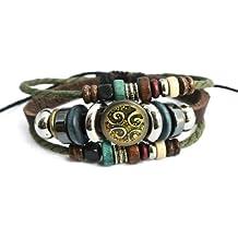 YS558 - Agathe Creation - Bracelet tibetain porte bonheur -perle tribal en métal - Cuir, Chanvre et perles de bois et métal - Multicolore - Fait main