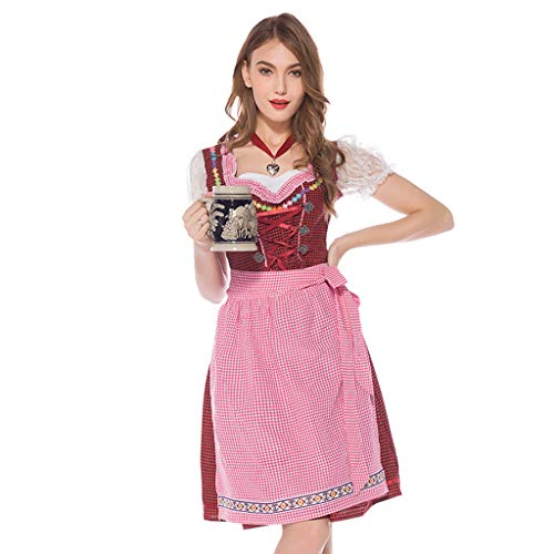 Sexy Piggy Miss Kostüm - ToDIDAF Oktoberfest Dirndl Damen Vintage Kleid BavarianTraditional Clothing Kurzarm Cosplay Kostüm for Oktoberfest Karneval Halloween Party Rot L