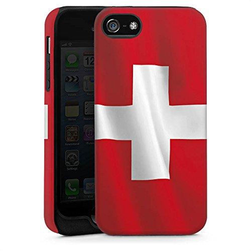 Apple iPhone 5s Housse Étui Protection Coque Suisse Suisse Drapeau Cas Tough brillant