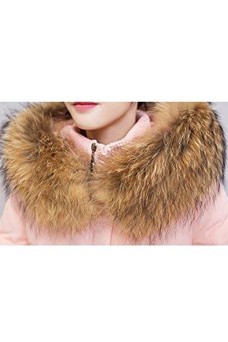 Les Femmes À Capuche Ferme Palangre Automne Hiver Long Manteau Veste Matelassée Matelassée Dessus pink