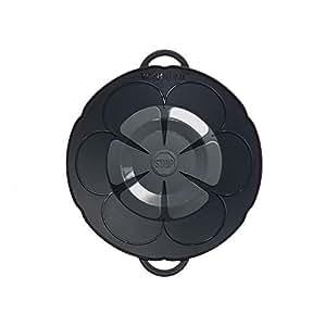 Kochblume vom Erfinder S 22 cm Silikon anthrazit Überkochschutz für Töpfe und Pfannen | Überkochstopp und Spritzschutz für Topfgrößen von Ø 14 bis 18 cm | Set mit Microfasertuch!