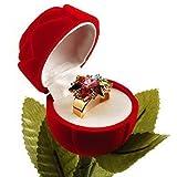 Rosa roja de terciopelo joyas anillo Potencia para bicicleta el paquete incluye caja de regalo (2 unidades en uno) para bodas Valentines aniversario etc