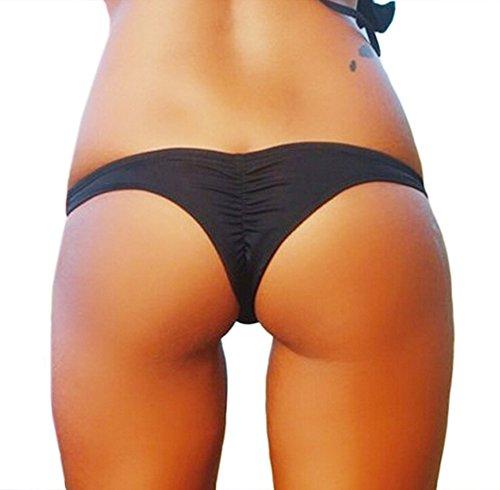 DATO Donna Da Mare e Piscina Perizoma Tanga e Culotte Perizoma slip Bikini Bottom Piega Nero