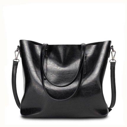 Mefly Grande capacità della cera di olio nuovo sacchetto borsetta marrone black