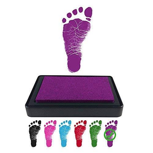 Baby Footprint Stempelkissen für Handabdrücke, 100{4515edaaa8a8dcc9c32f56f3764dc4f786ba0fbb2991082bbfa45a86ad7835f8} ungiftige und säurefreie Tinte, einfach zu reinigen/abwaschen, wischfest und langlebig, Schwarz