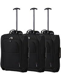 Lot de 3 Super léger de voyage bagages Cabine Valise Wheely Sacs Sac à Roulettes