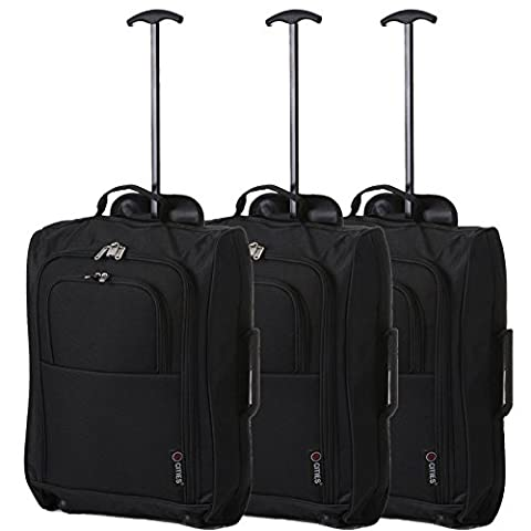 5 Cities Trolley Bag Cabin Hand Luggage, 55 cm, 42 Litre, Black, Set of 3