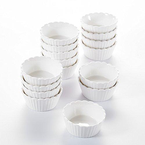 MALACASA Série Ramekin Dish, 16pcs Ramequin Pâtisserie Dessert Bols à Sauce Porcelaine 2.75'/7 * 7 * 3cm