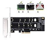 QNINE Dual M.2 PCIe Adapter, M.2 NVME Festplatten (M Key) oder M.2 SATA Festplatten (B Key) 22110 2280 2260 2242 2230 zu PCI-e 3.0 x4 Host Controller mit Low Profile Bracket for PC Desktop