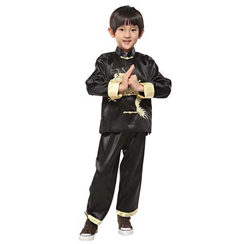 Jungen Kostüm Karate - BOZEVON Jungen Tang Anzug - Kinder Kung Fu Tai Chi Kleidung Martial Arts Anzüge Performance Kostüm, Schwarz, Tag 8